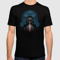Darth Vader with Lightsaber in Galaxy Black Mens Fitted Tee LARGE