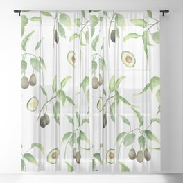 Avocado Pattern  Sheer Curtain