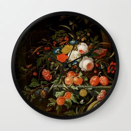 """Abraham Mignon """"Flowers and Fruit"""" Wall Clock"""
