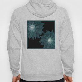 Blue flower on a black background . Hoody