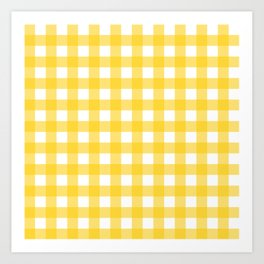 White & Yellow Gingham Pattern Kunstdrucke