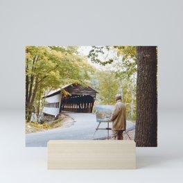 Covered Bridge in Autumn Maine Mini Art Print
