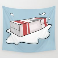 milk Wall Tapestries featuring Spilt Milk by Becky Gibson