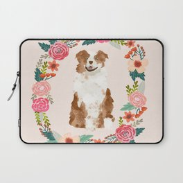 australian shepherd red merle floral wreath dog gifts pet portraits Laptop Sleeve