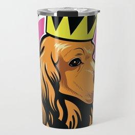 Red female cocker spaniel head with crown Travel Mug