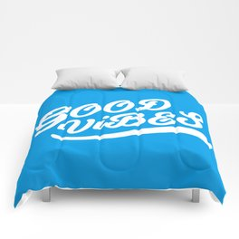 Good Vibes Happy Uplifting Design White And Blue Comforters