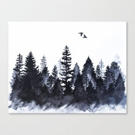 Forest Silhouette Watercolor Canvas Print