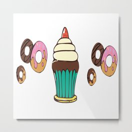 Donuts and a Cupcake Metal Print