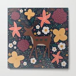 Floral folksy deer Metal Print