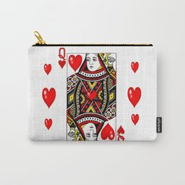 QUEEN  OF HEARTS SUIT CASINO PLAYING FACE CARD Carry-All Pouch