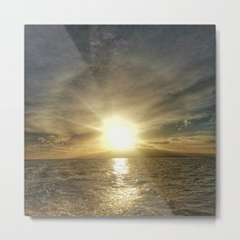Sunset on Maui by boat Metal Print