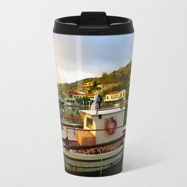 Greece Fishing Boat Sunrise High Color Travel Mug