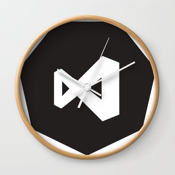 black visual studio logo sticker wall clockdevstudios   society6