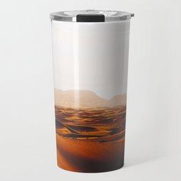 Minimalist Desert Landscape Sand Dunes With Distant Mountains Travel Mug