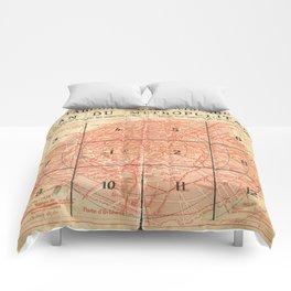 Vintage Paris City Centre Map Comforters