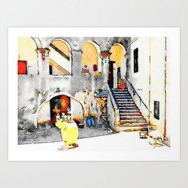 Tortora: courtyard with open gallery Art Print