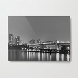 Vancouver in the Haze BW Metal Print