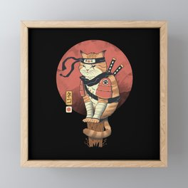 Shinobi Cat Framed Mini Art Print