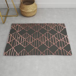 Artistic abstract black faux rose gold geometrical Rug
