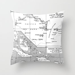 Vintage Map of Turks and Caicos & Bahamas Throw Pillow
