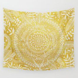 Medallion Pattern in Mustard and Cream Wall Tapestry