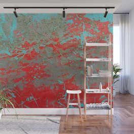 texture - aqua and red paint Wall Mural