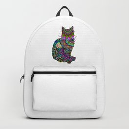 Abstract Pretty Kitty Cat Mandala Design Backpack