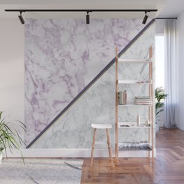 Lavender white faux gold abstract geometric marble Wall Mural