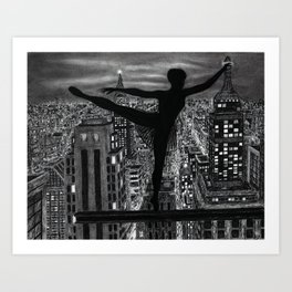 Untitled - Charcoal Drawing - ballet, cityscape, female figure, silhouette Art Print