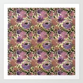 Botanical lavender purple ivory brown floral Art Print