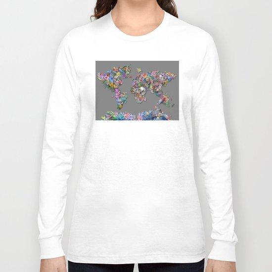 floral skull world map 1 Long Sleeve T-shirt