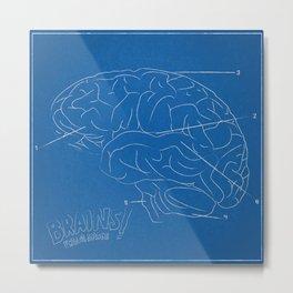 Brain Blueprint Metal Print