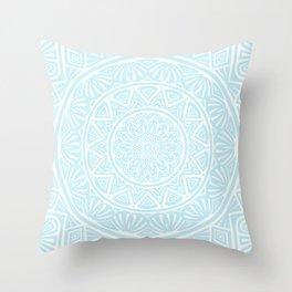 Light Sky Blue Aqua Simple Simplistic Mandala Design Ethnic Tribal Pattern Throw Pillow