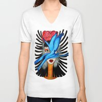 goddess V-neck T-shirts featuring Goddess by Miss Midnight