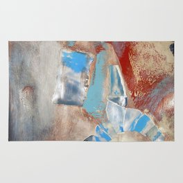 Red, Blue, and White Sky Abstract Collage Rug