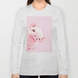 Sneaky Baby Pink Pig Long Sleeve T-shirt