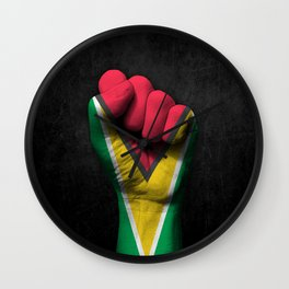Guyanese Flag on a Raised Clenched Fist Wall Clock