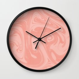 Pantone Living Coral Abstract Fluid Art Swirl Pattern Wall Clock