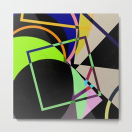 Retro Pastel X - Abstract, geometric, scandinavian pattern artwork Metal Print