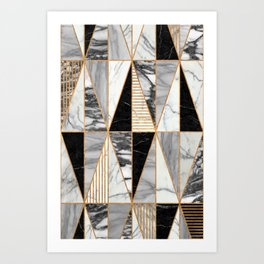 Marble Triangles - Black and White Art Print