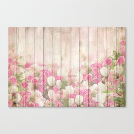 Beautiful Pink Tulip Floral Vintage Shabby Chic Canvas Print