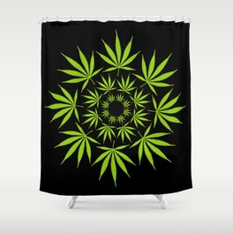 Cannabis Leaf Circle (Black) Shower Curtain