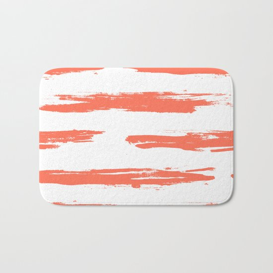 Brushed Stripe Deep Coral on White Bath Mat