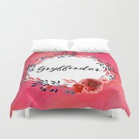 gryffindor Duvet Covers featuring HP Gryffindor in Watercolor by Snazzy Sisters