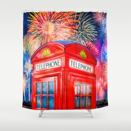 Fun Fireworks Over An Iconic Red British Phone Box Shower Curtain