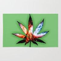 marijuana Area & Throw Rugs featuring Marijuana Leaf - Design 1 by Spooky Dooky