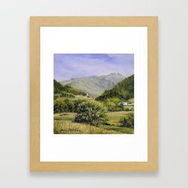 Pastures and Mount Mansfield Oil Landscape Vermont Painting Framed Art Print