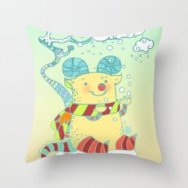 like a small child seeing their first snow Throw Pillow