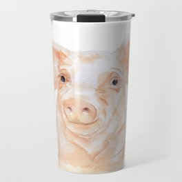 Pig Face Watercolor Farm Animal Travel Mug
