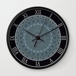 Mandala in silver and blue tones Wall Clock